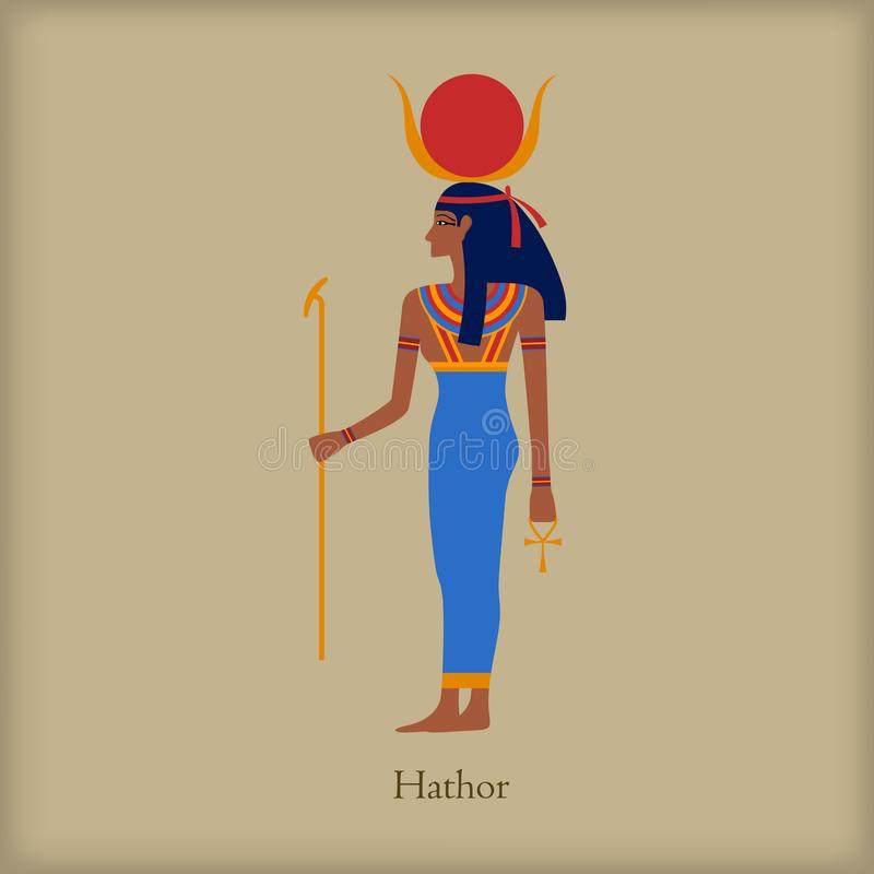 Hathor, Goddess of love icon, flat style. Hathor, Goddess of love icon in flat style on a brown background royalty free illustration