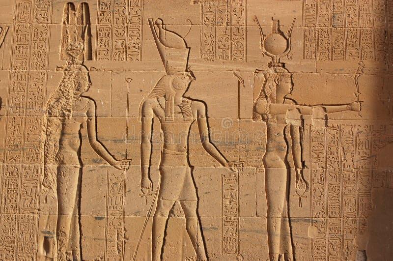 Hathor, Horus e Isis fotografia de stock