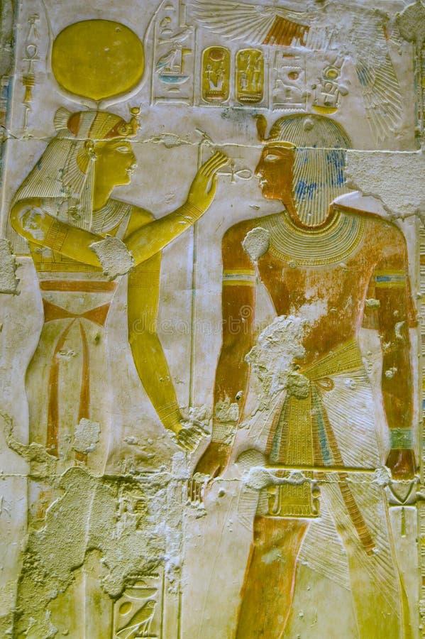 Download Hathor and Pharoah Seti stock photo. Image of ankh, temple - 13028594