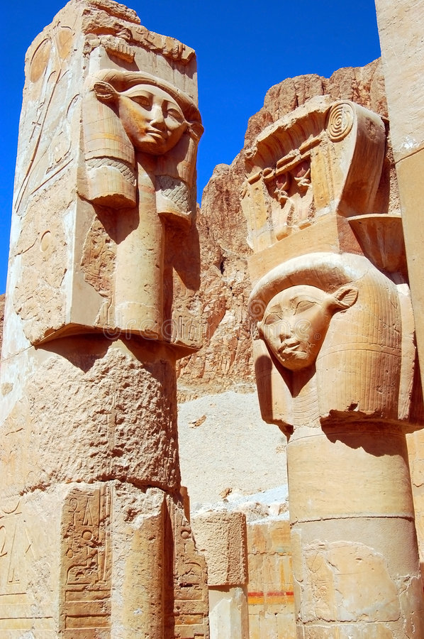 Hathor Statue. Ancient statues of Hathor, Egyptian goddess of love, dance, alcohol and death stock photos
