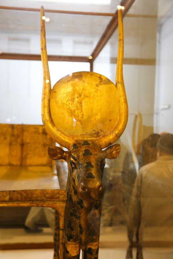 Hathour gudinna av den spända Ankh Amonskatten - egyptiskt museum arkivbilder