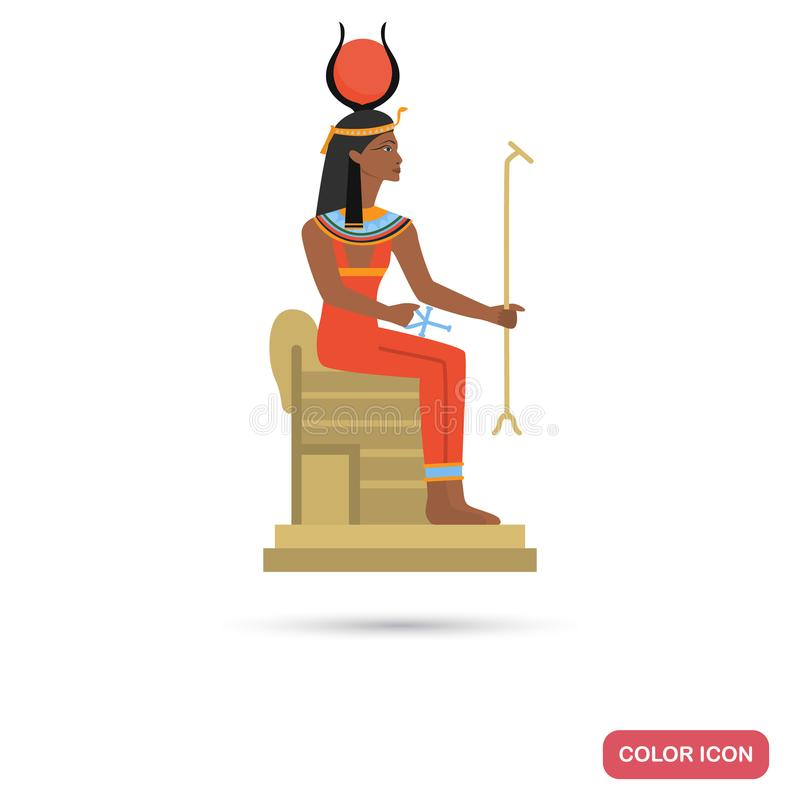 Hator goddess color flat icon for web and mobile design. Hator goddess color flat icon for web and mobile royalty free illustration
