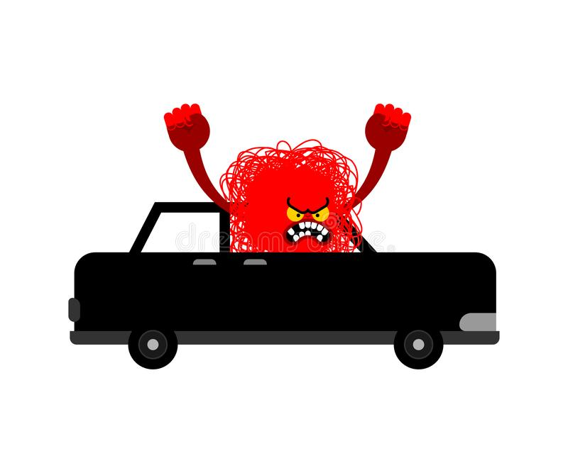 Hatred Black monster in car. Angry driver Hater. Vector illustration.  royalty free illustration
