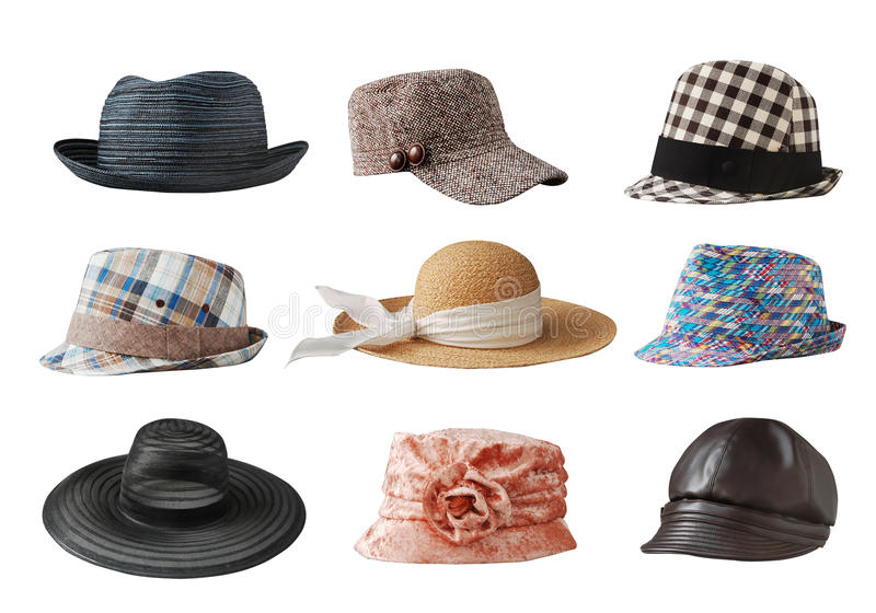 Hats. Various of hats with white background stock image