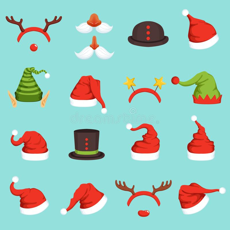 Hats of different christmas characters. Cap of santa, elf and snowman. Vector illustrations in cartoon style vector illustration