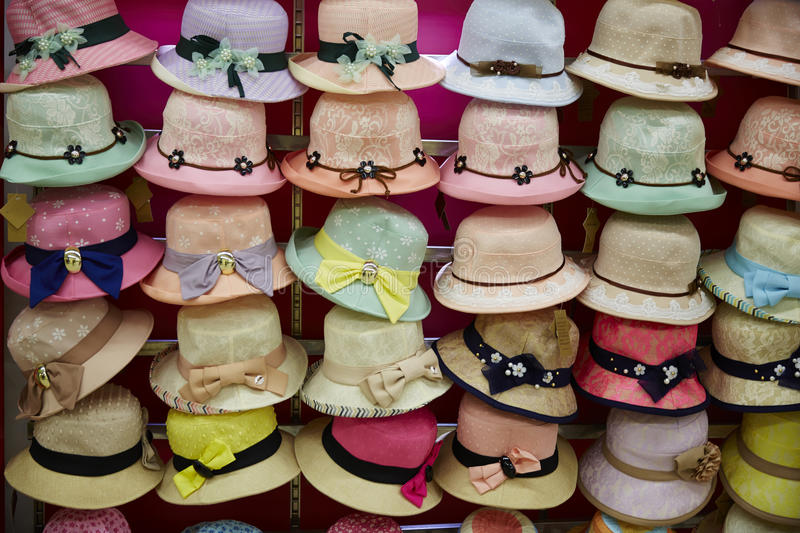 Hats. Different styles and colors hats array and pattern royalty free stock images