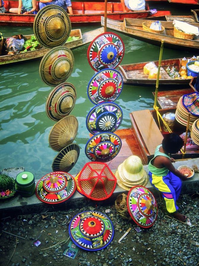 Hats, Floating Market, Thailand royalty free stock photography