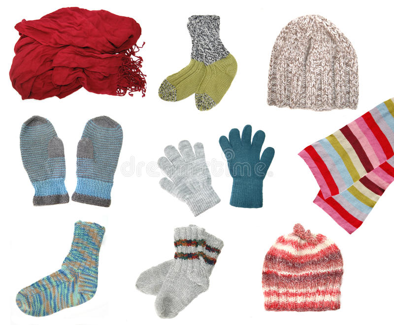 Hats, glows and scarves stock image