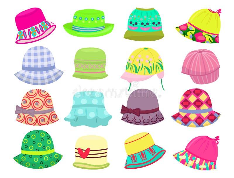 Hats for little girls stock illustration