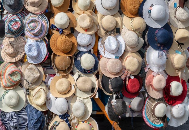 Hats on Ljubljana central market in Slovenia royalty free stock images
