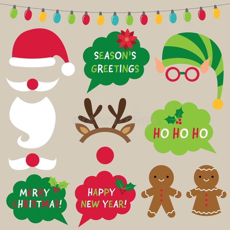Christmas decoration and photo booth props Santa, elf, reindeer royalty free illustration