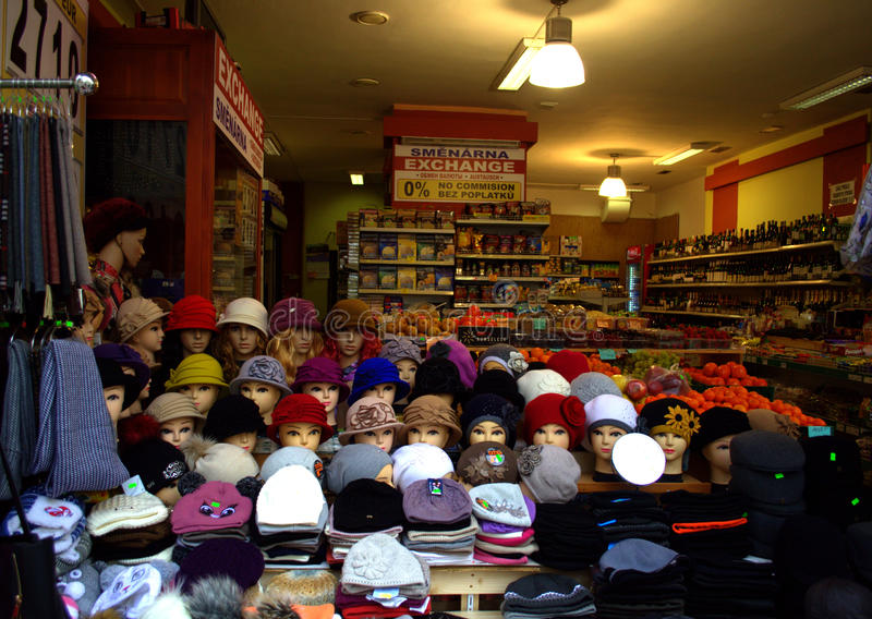 Hats in retail store. Hats and wool scarves displayed at retail store,Karlovy vary, West Bohemia,Czech Republic royalty free stock photos
