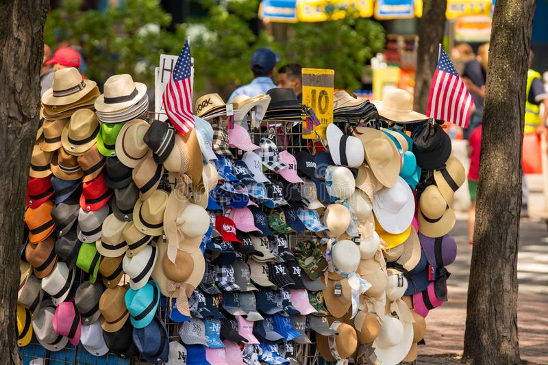 Hats for sale in New York. USA royalty free stock photos