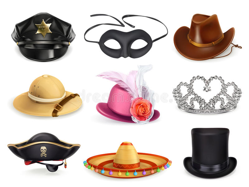 Hats set, collection of headgear vector illustration
