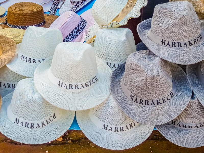 Hats in a souk in Marrakech Morocco. Tourist souvenir fedora hats in a souk in Marrakech, Morocco royalty free stock images