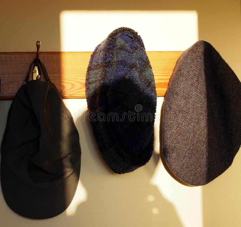 Hats and sunlight, caps and rays. Three hats of different styles - cloth cap, winter fur hat, baseball cap - hanging on pegs and caught in sunlight royalty free stock image
