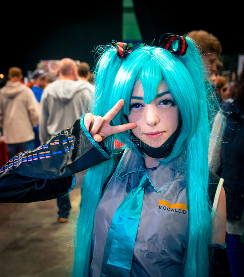Hatsune Miku Cosplay. Sheffield, UK - June 11, 2016: Cosplayer dressed as the 'Hatsune Miku' vocaloid character at the Yorkshire Cosplay Convention at Sheffield royalty free stock image