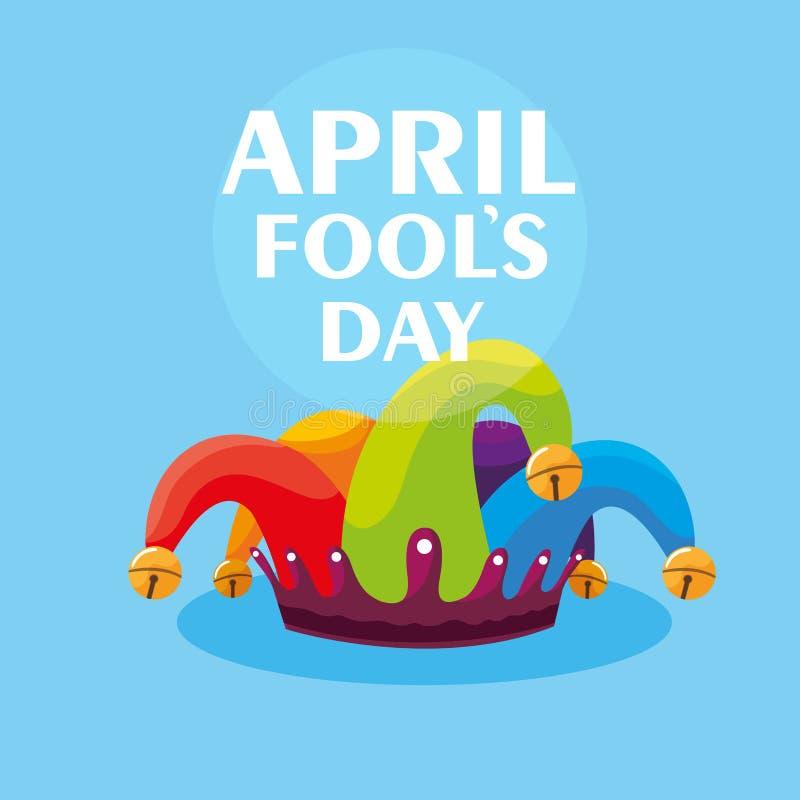 Hatt för joker för dag för April dumbommar royaltyfri illustrationer