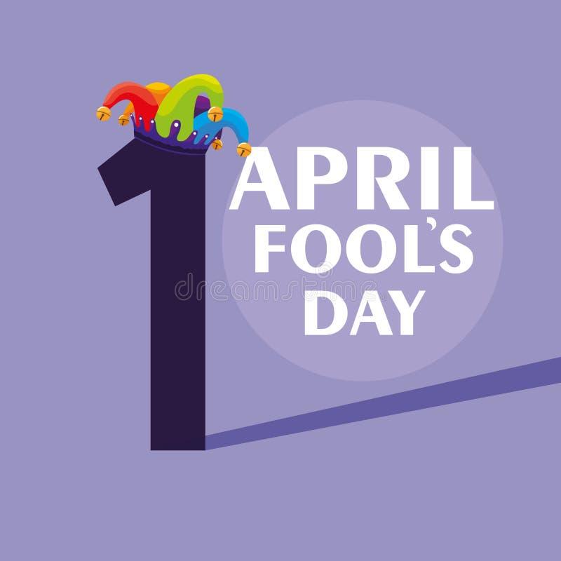 Hatt för joker för dag för April dumbommar i nummer ett vektor illustrationer