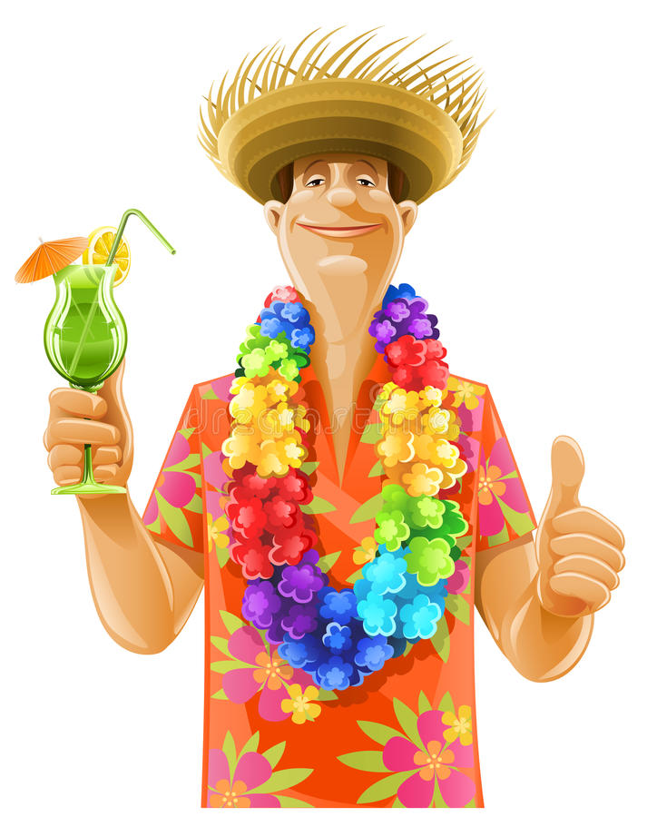 Hatt för mancoctailhawaii kran stock illustrationer