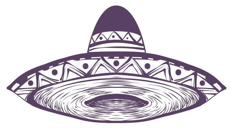 Hatt för mexikanskt nationellt traditionellt sugrör för sombrero bred rågad royaltyfri illustrationer