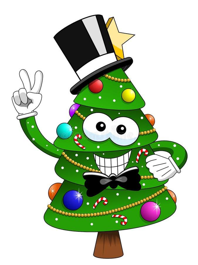 Hatt för smoking för tecken för maskot för Xmas-julträd som bästa ler isolator stock illustrationer