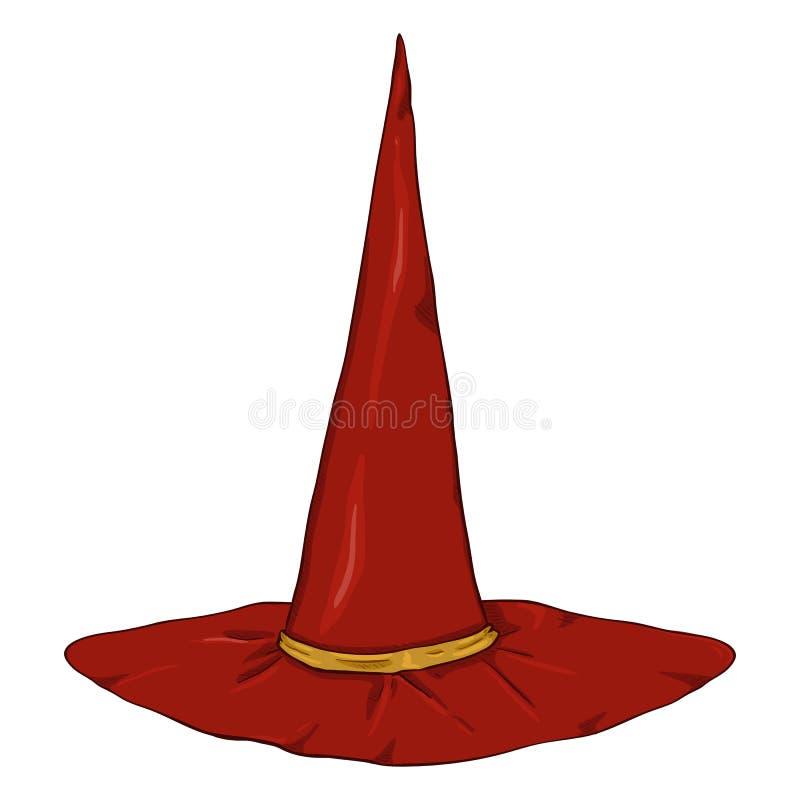 Hatt för trollkarlar för vektortecknad film enkel röd stock illustrationer