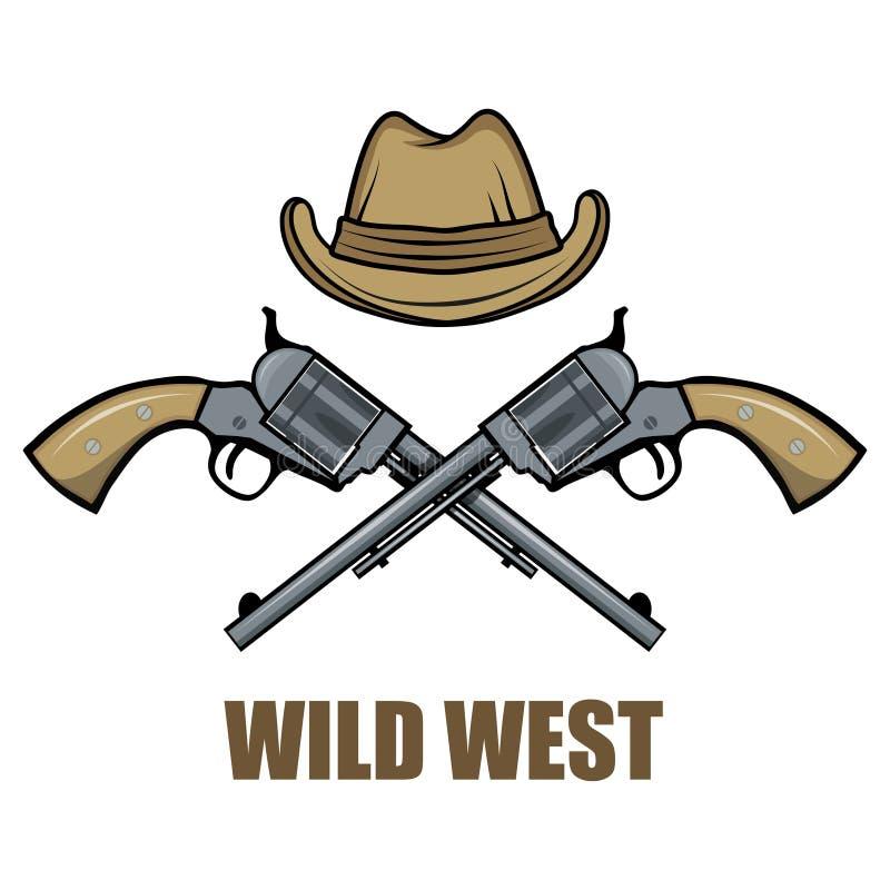Hatt och vapencowboy Tecknad filmbild av det lösa västra royaltyfri illustrationer