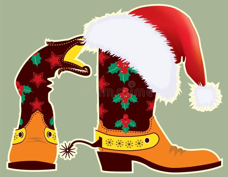 hatt rött s santa för kängacowboydesign vektor illustrationer