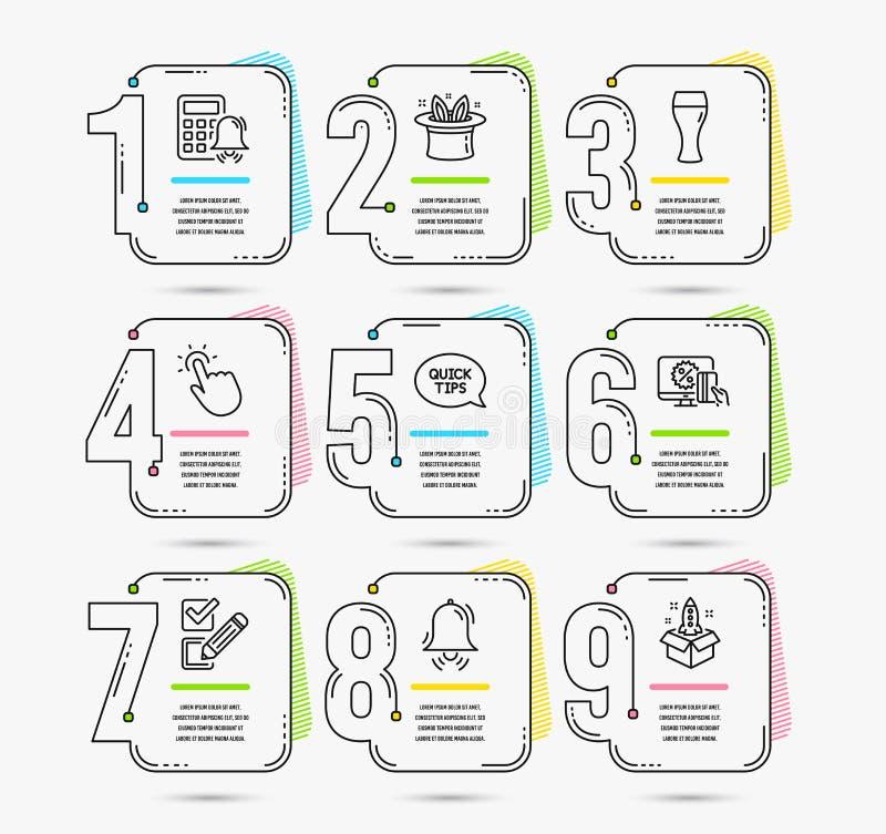 Hatt-trick, klockaklocka och Checkboxsymboler Quickstart handbok, online-shopping och Touchpoint tecken vektor vektor illustrationer