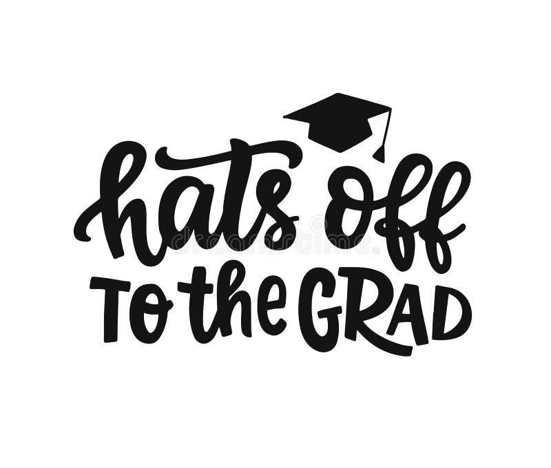 Hattar av till det akademikert! Avläggande av examenetikett, baner stock illustrationer