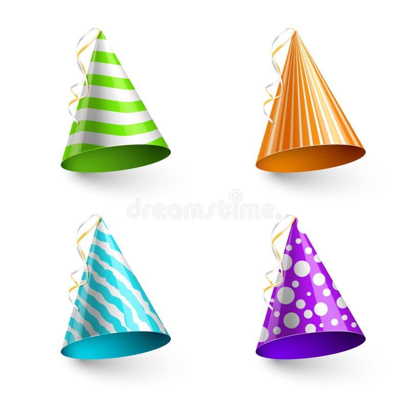Hattar för vektorbarnparti som isoleras på genomskinlig rutig bakgrund royaltyfri illustrationer
