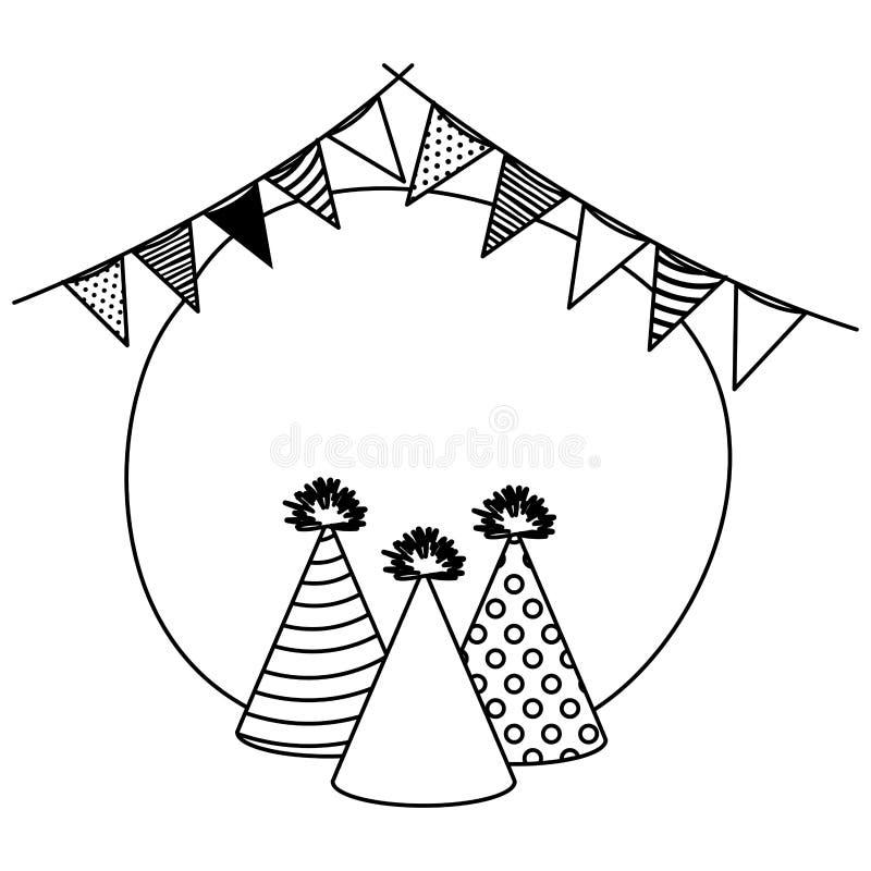 Hattar och girlander för rampartiberöm stock illustrationer