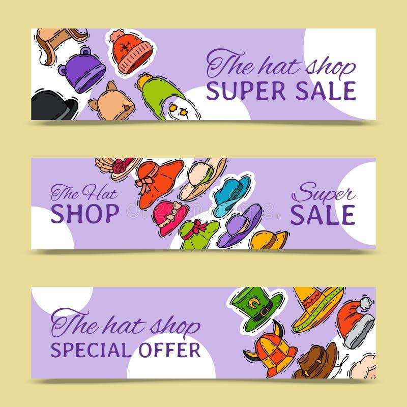 Hattar shoppar illustrationen för vektorn för marknadslagerbanret Olik bekläda affisch för tillbehör för torkduk för försäljnings vektor illustrationer