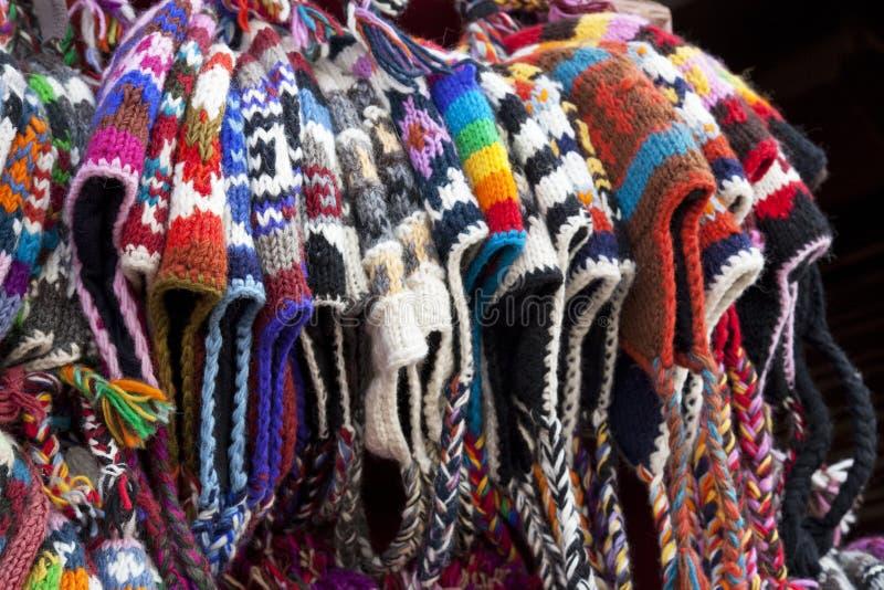 hattar stack nepalese traditionellt woolen arkivbilder