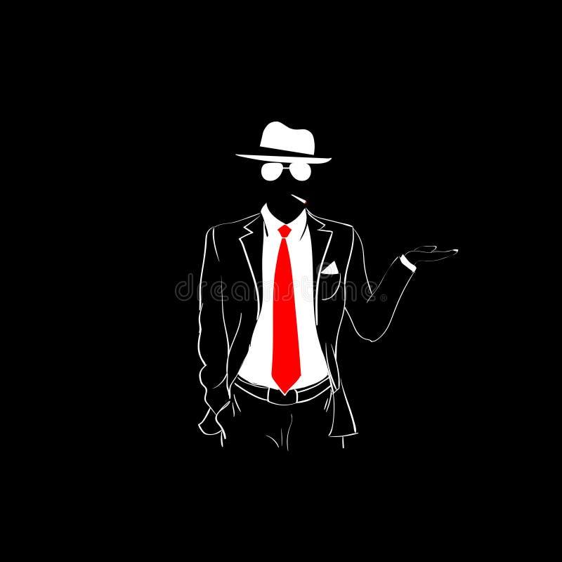 Hatten för röda för bandet för mankonturdräkten gömma i handflatan den öppna vita exponeringsglas för kläder royaltyfri illustrationer