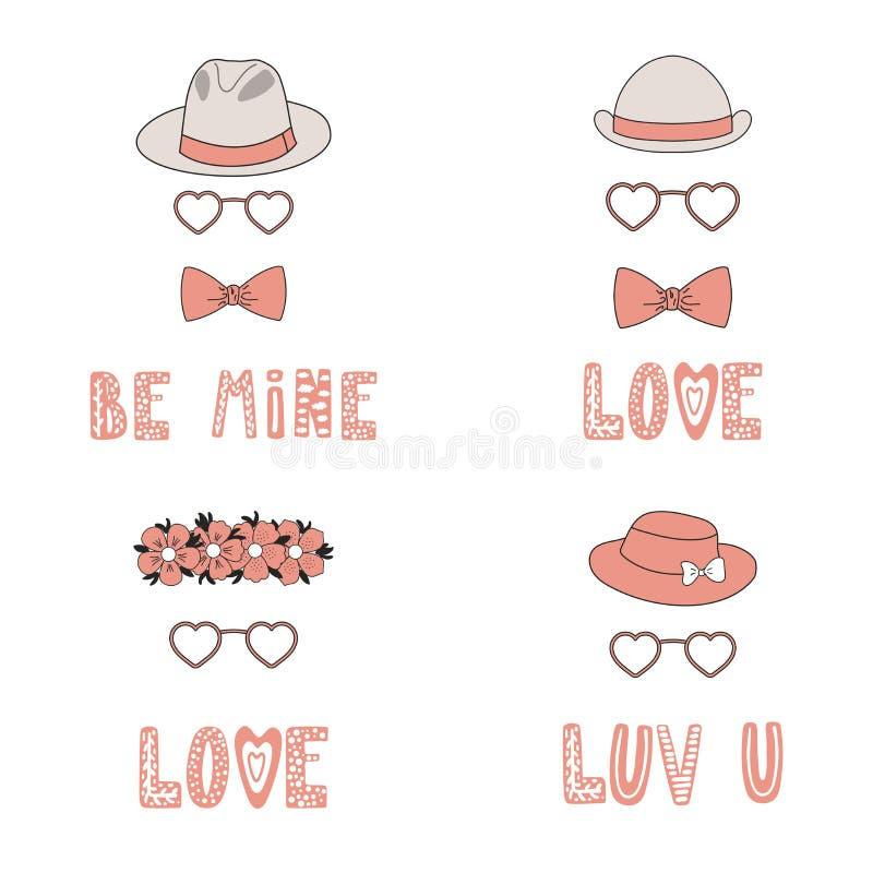 Hatten och hjärta formade exponeringsglas älskar hälsningkort vektor illustrationer