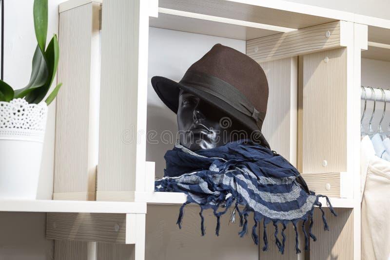 Hatten vilar på en hylla i ett märkes- lager royaltyfri fotografi