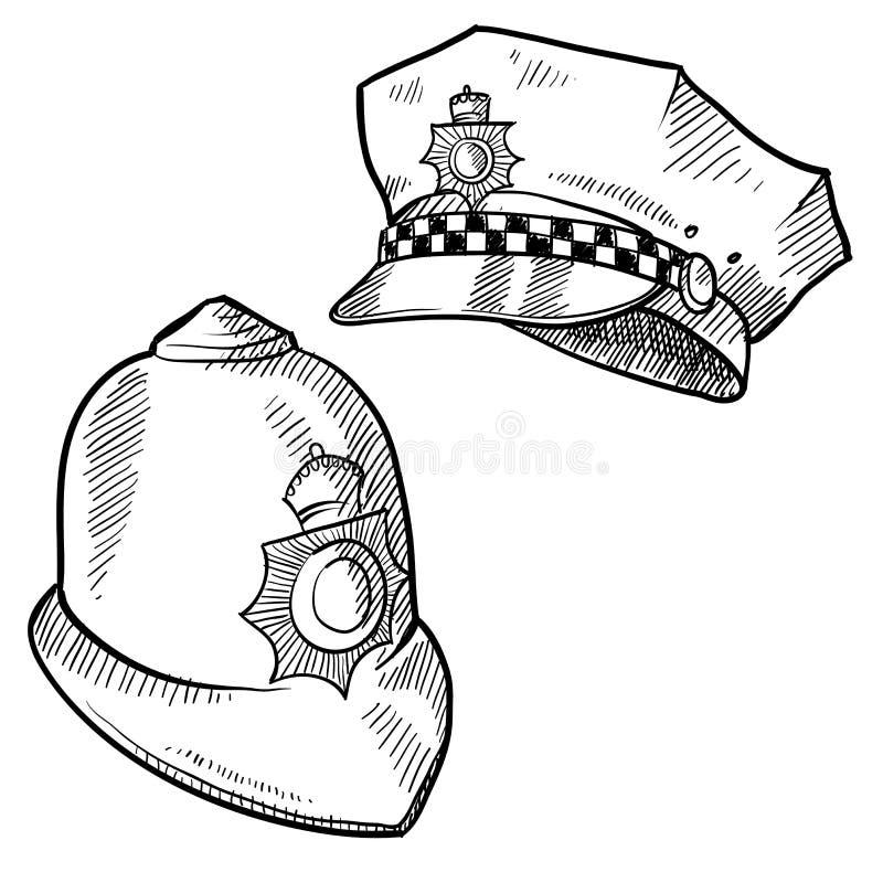 hattpolisen skissar vektor illustrationer