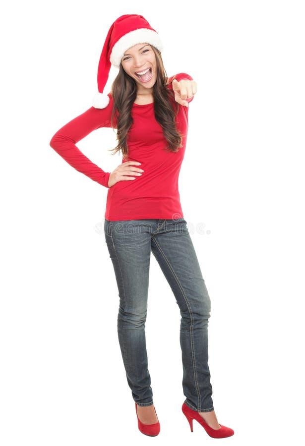 hattsanta för jul lycklig kvinna fotografering för bildbyråer