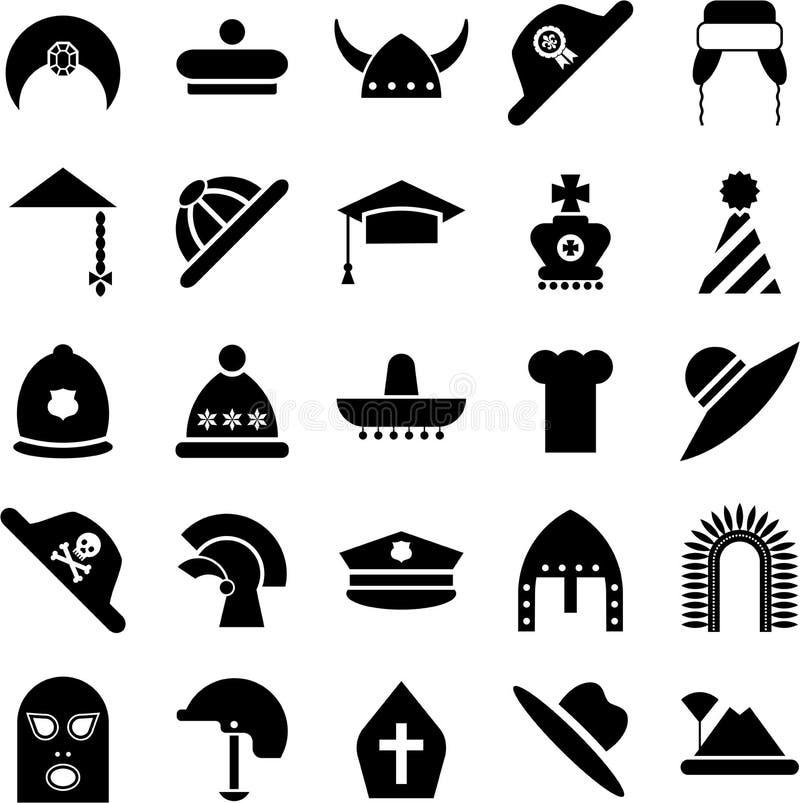 Hattsymboler royaltyfri illustrationer