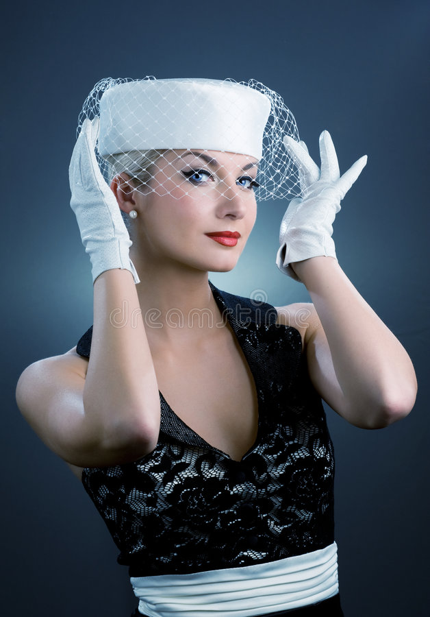 hattwhitekvinna royaltyfri fotografi