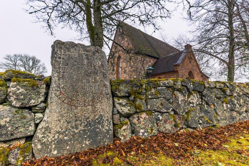 Hatuna, Suecia - 1 de abril de 2017: Iglesia de Hatuna, Suecia imagen de archivo