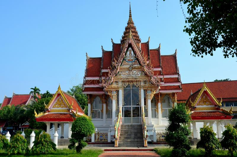 Thai Buddhist temple and gardens Hat Yai Songkhla Thailand. Hatyai, Thailand - August 28, 2015: A beautiful and intricately worked Thai Buddhist temple with royalty free stock image