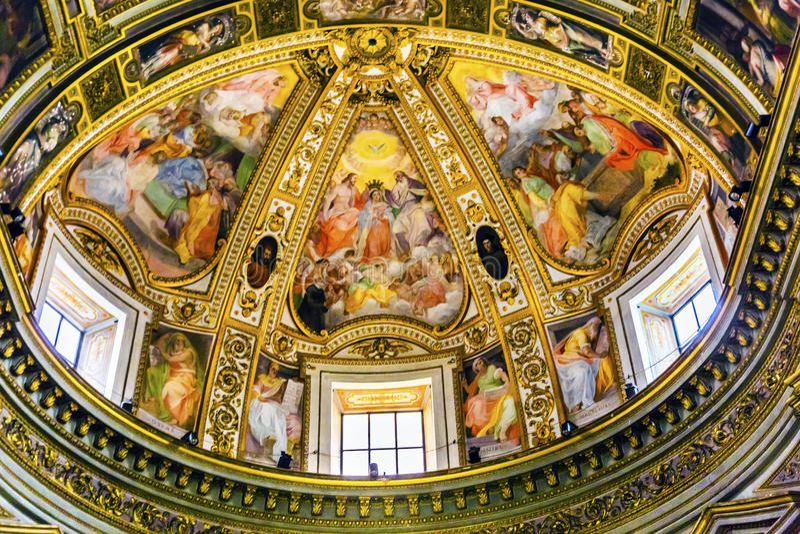 Hauben-Freskos Chiesa San Marcello al Corso Church Rome Italy lizenzfreies stockfoto