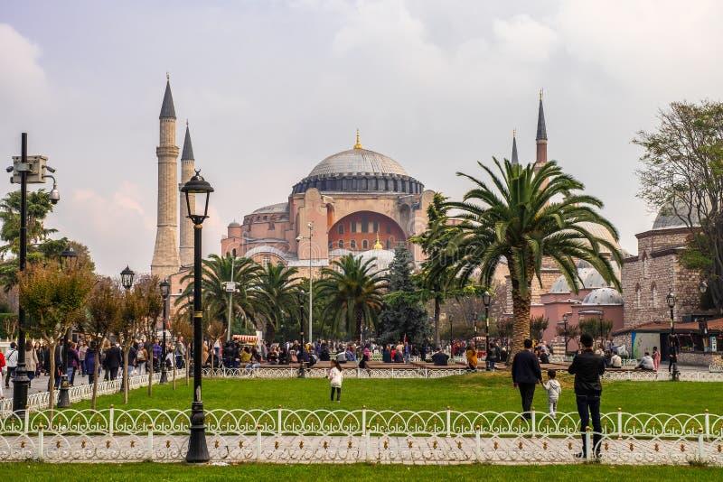 Hauben und Minaretts Hagia Sophia in der alten Stadt von Istanbul stockfoto