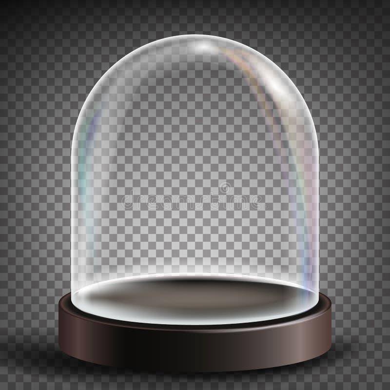 Hauben-Vektor Werbung, Darstellungs-Design-Glas-Element Leerer Glas-Crystal Dome Schablonenmodell Getrennt stock abbildung