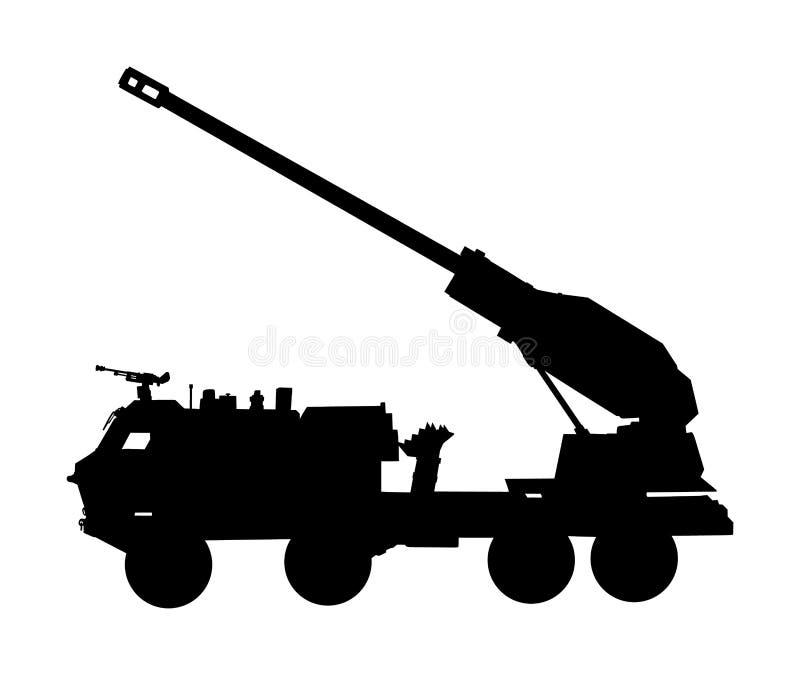 Haubitzeartillerieabschussrampen-LKW-Schattenbildillustration Flug-Rocket-Fördermaschine mit Kanone Atombombetest, Krieg stockfotos