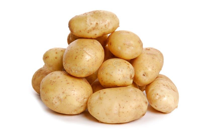 Haufen der Kartoffel auf Weiß stockbilder