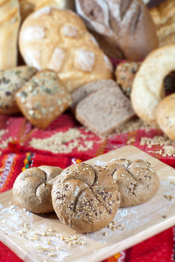 Haufen des Brotes stockbild